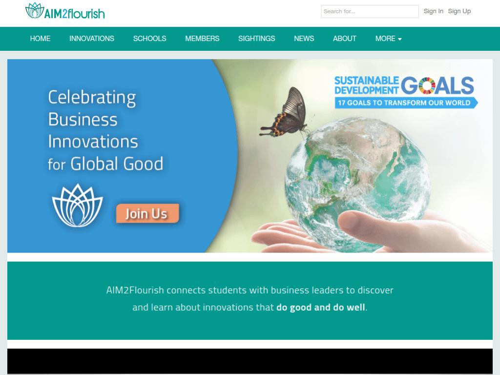 Homepage screenshot of Aim 2 Flourish