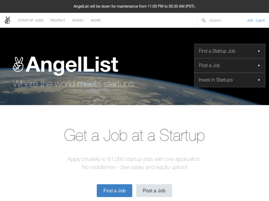 Homepage screenshot of AngelList