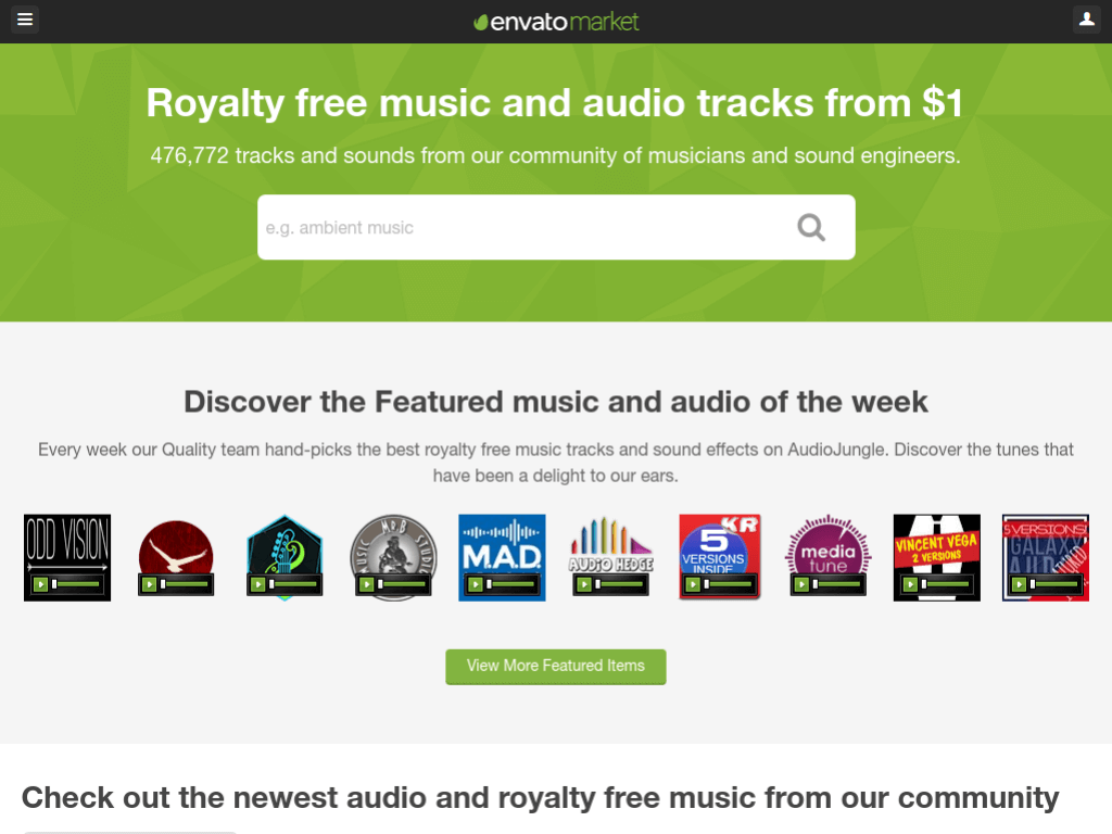 Homepage screenshot of AudioJungle