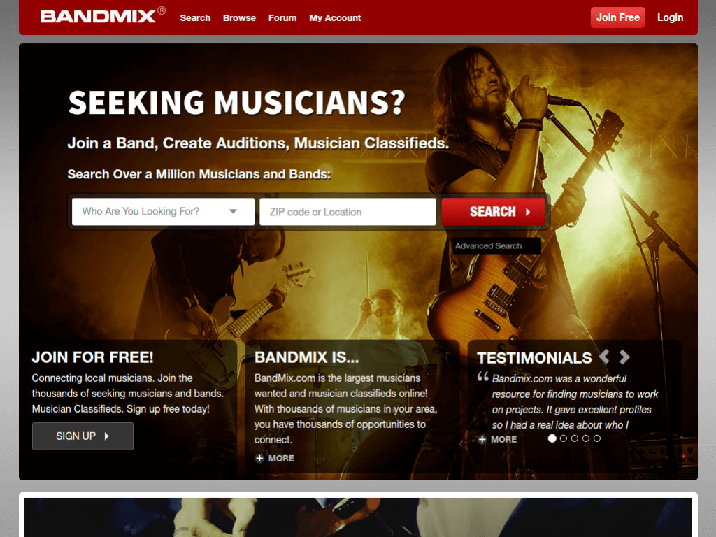 Homepage screenshot of BandMix