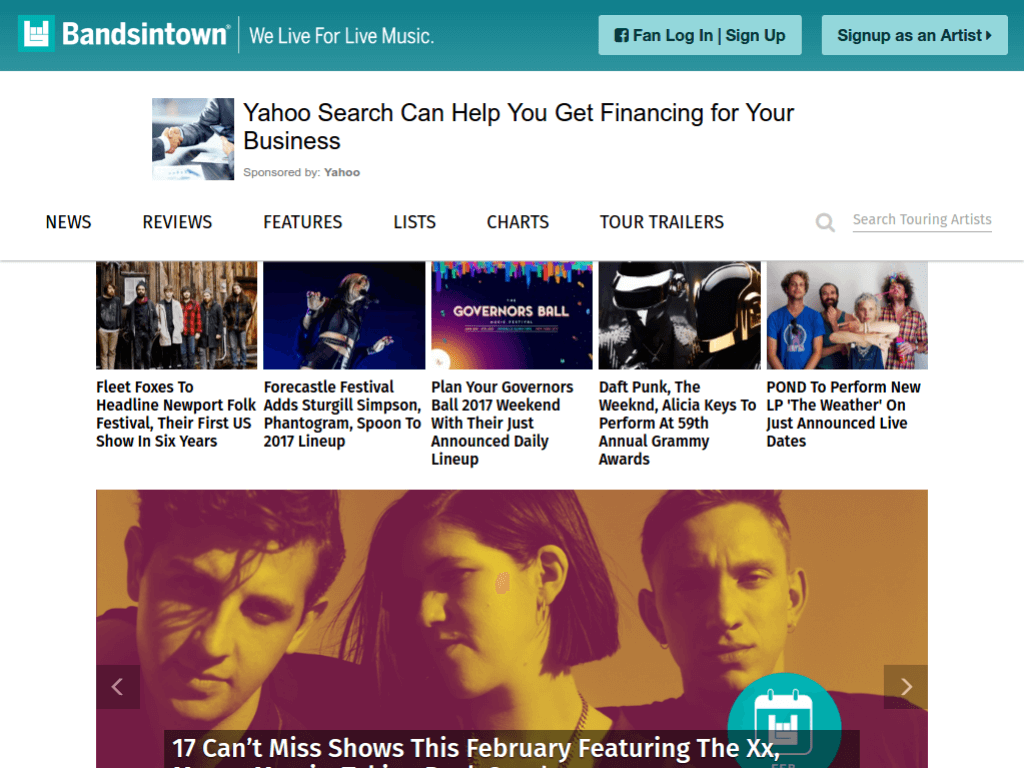 Homepage screenshot of Bands In Town