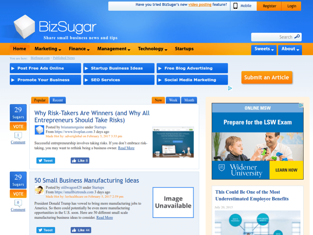Homepage screenshot of Biz Sugar