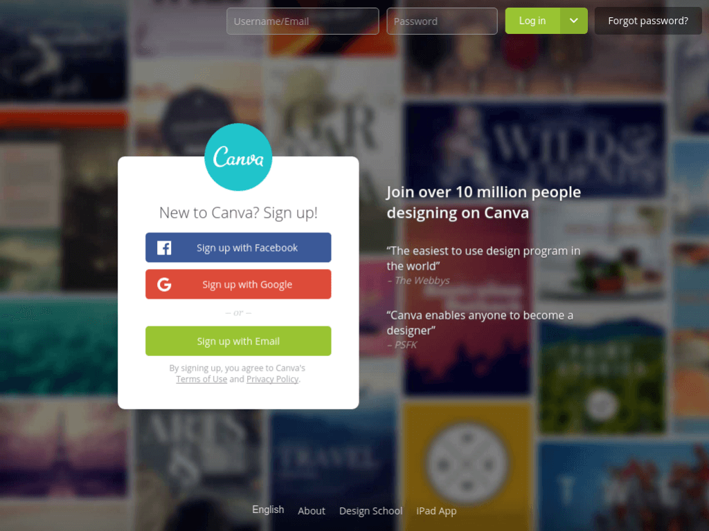 Homepage screenshot of Canva