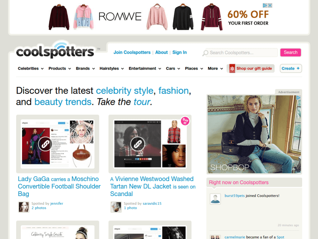 Homepage screenshot of Cool Spotters