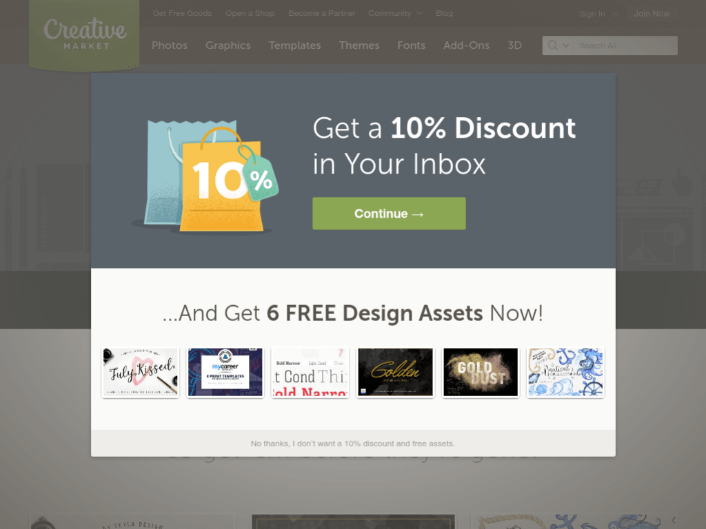 Homepage screenshot of Creative Market