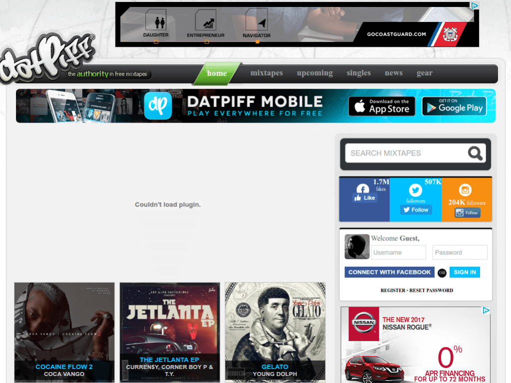 Homepage screenshot of Dat Piff