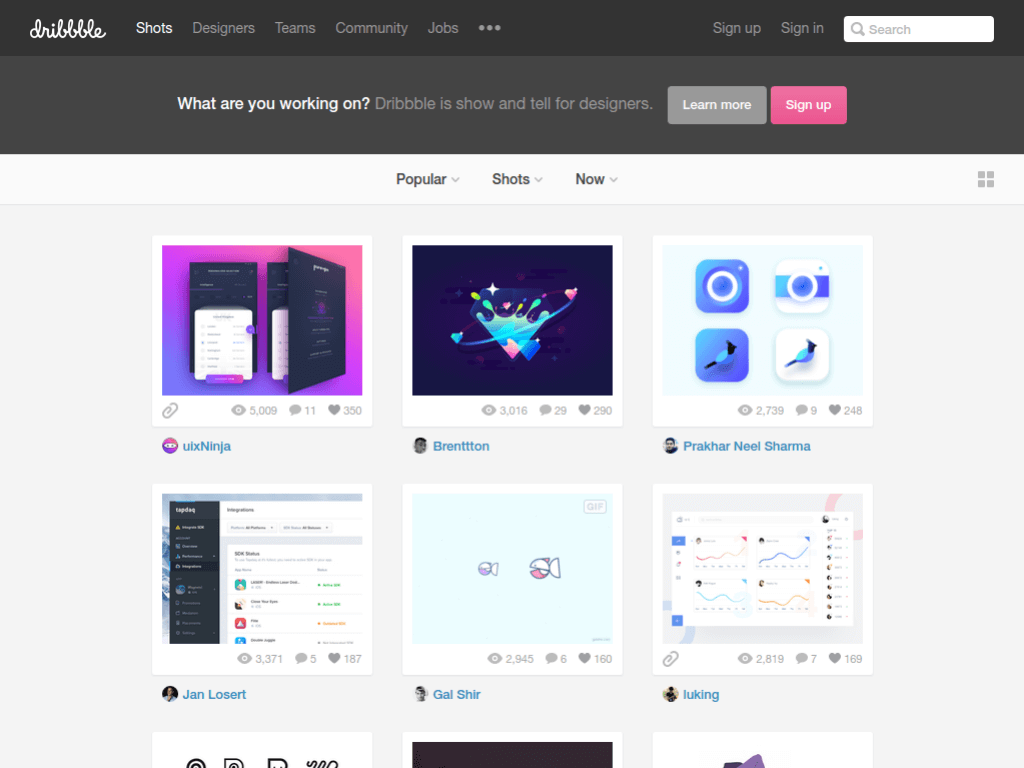 Homepage screenshot of Dribbble