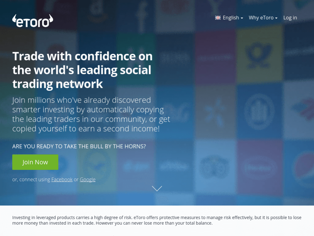 Homepage screenshot of eToro