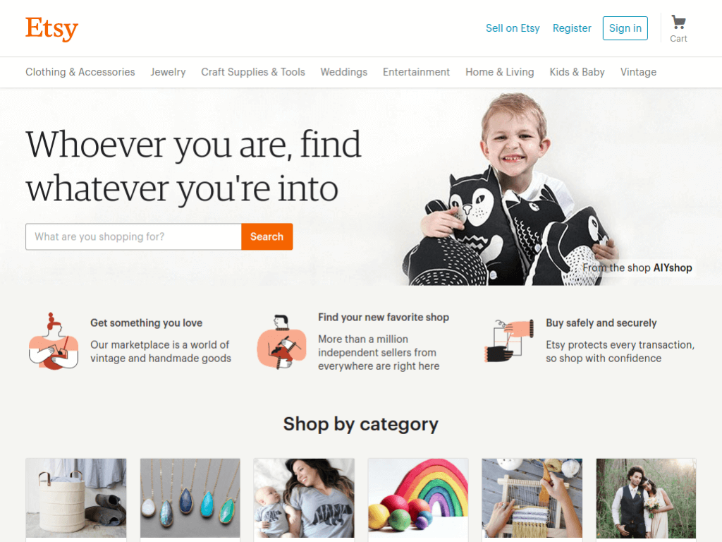 Homepage screenshot of Etsy