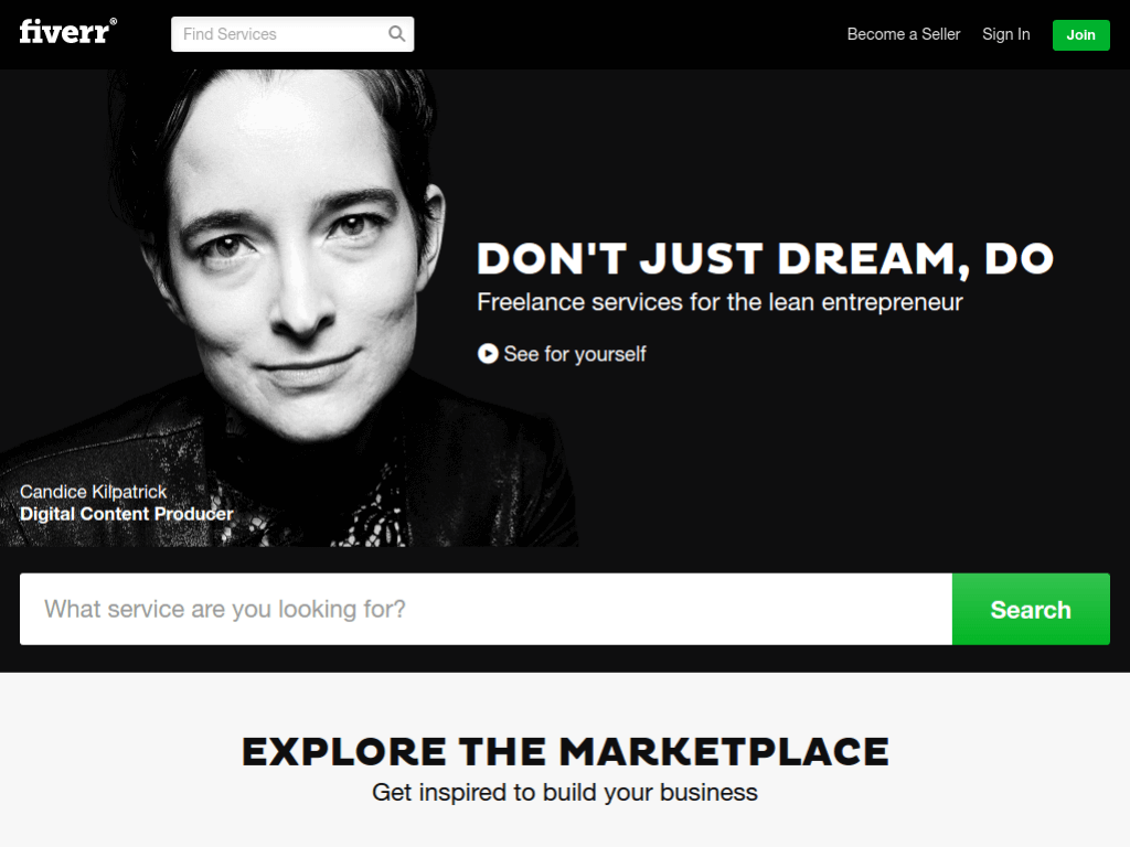 Homepage screenshot of Fiverr
