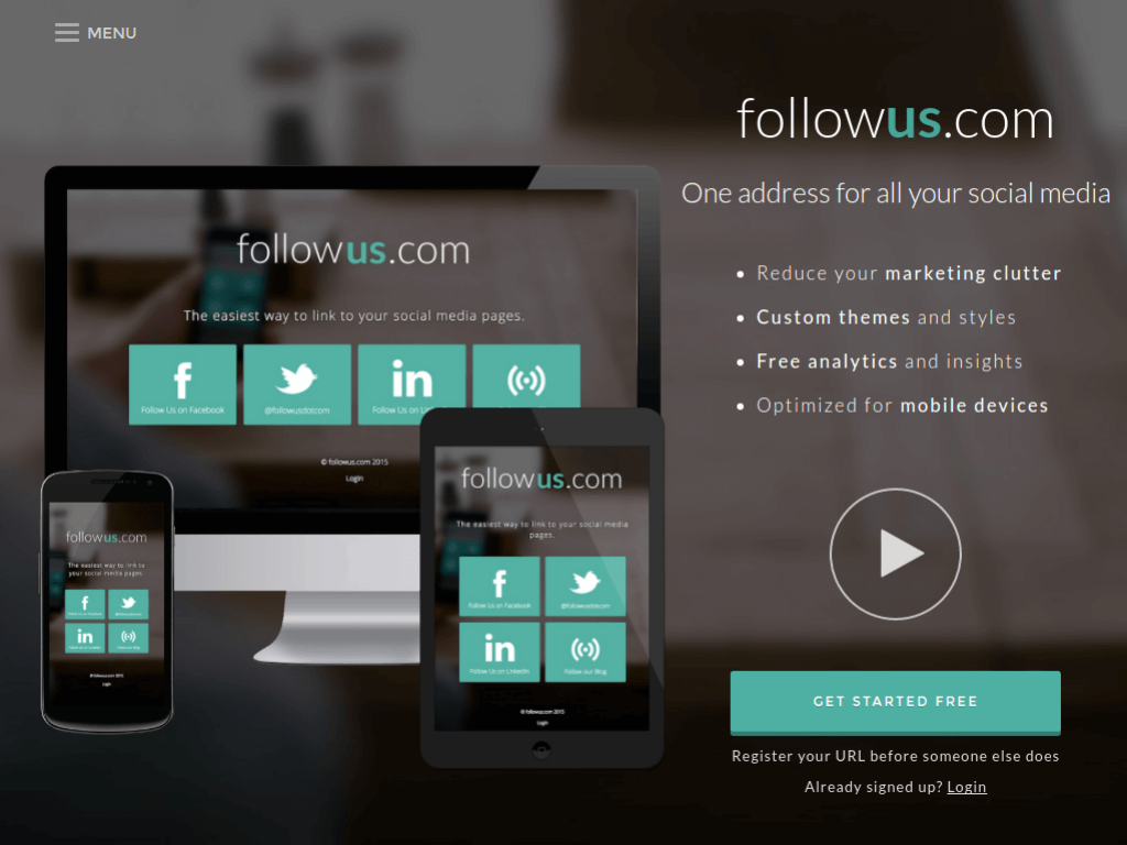 Homepage screenshot of FollowUs