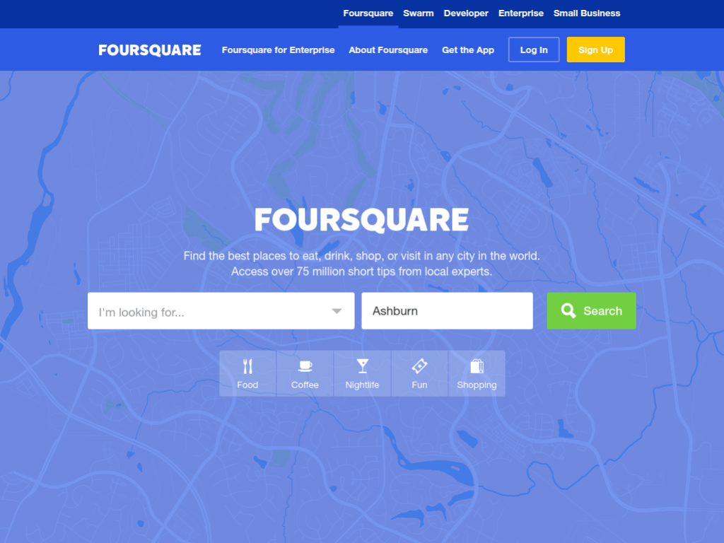 Homepage screenshot of Four Square