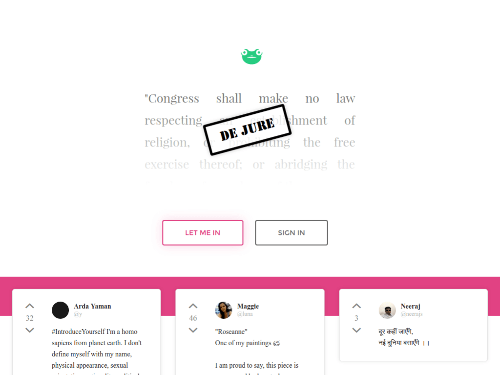Homepage screenshot of GAB