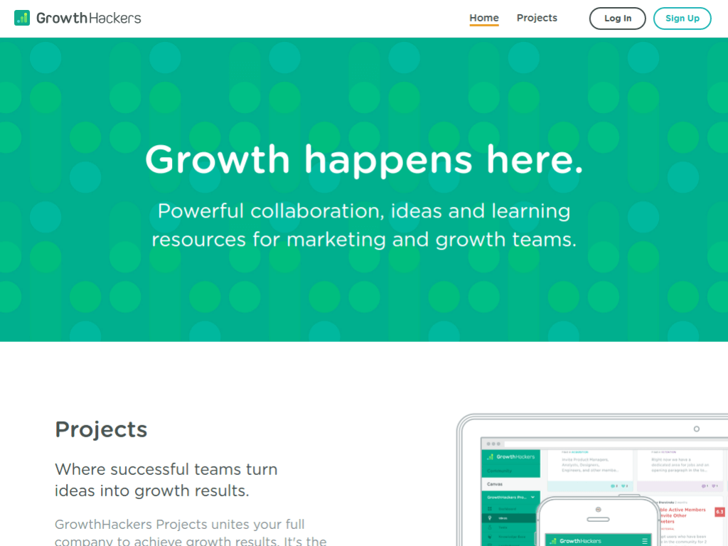 Homepage screenshot of Growth Hackers