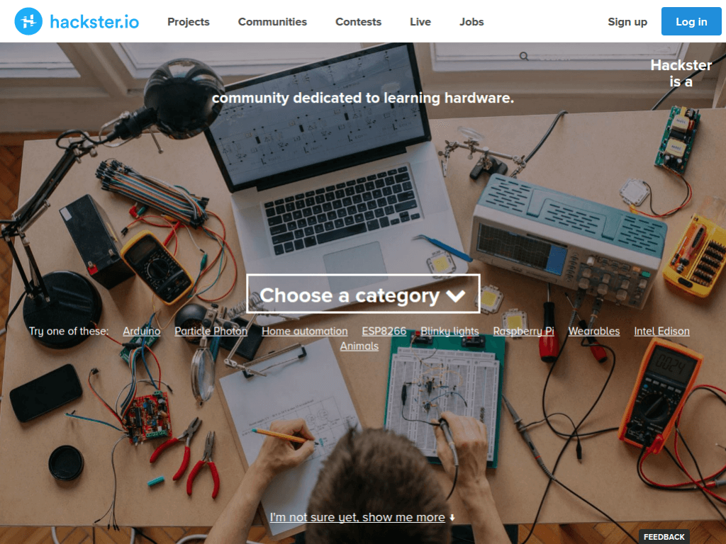 Homepage screenshot of Hackster