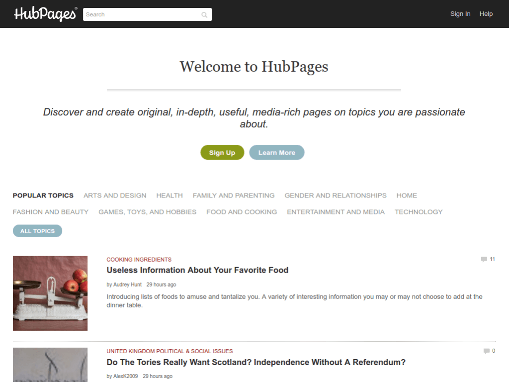 Homepage screenshot of Hub Pages