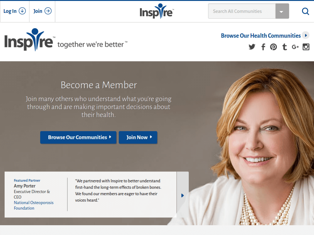Homepage screenshot of Inspire