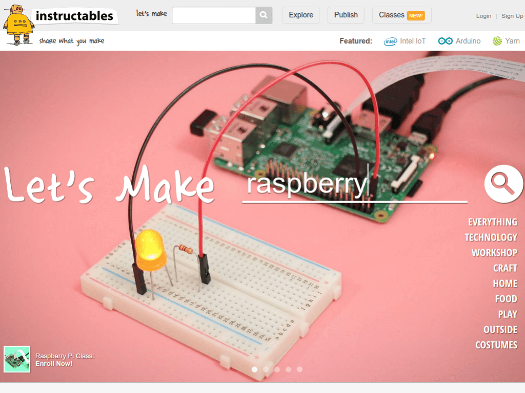 Homepage screenshot of Instructables