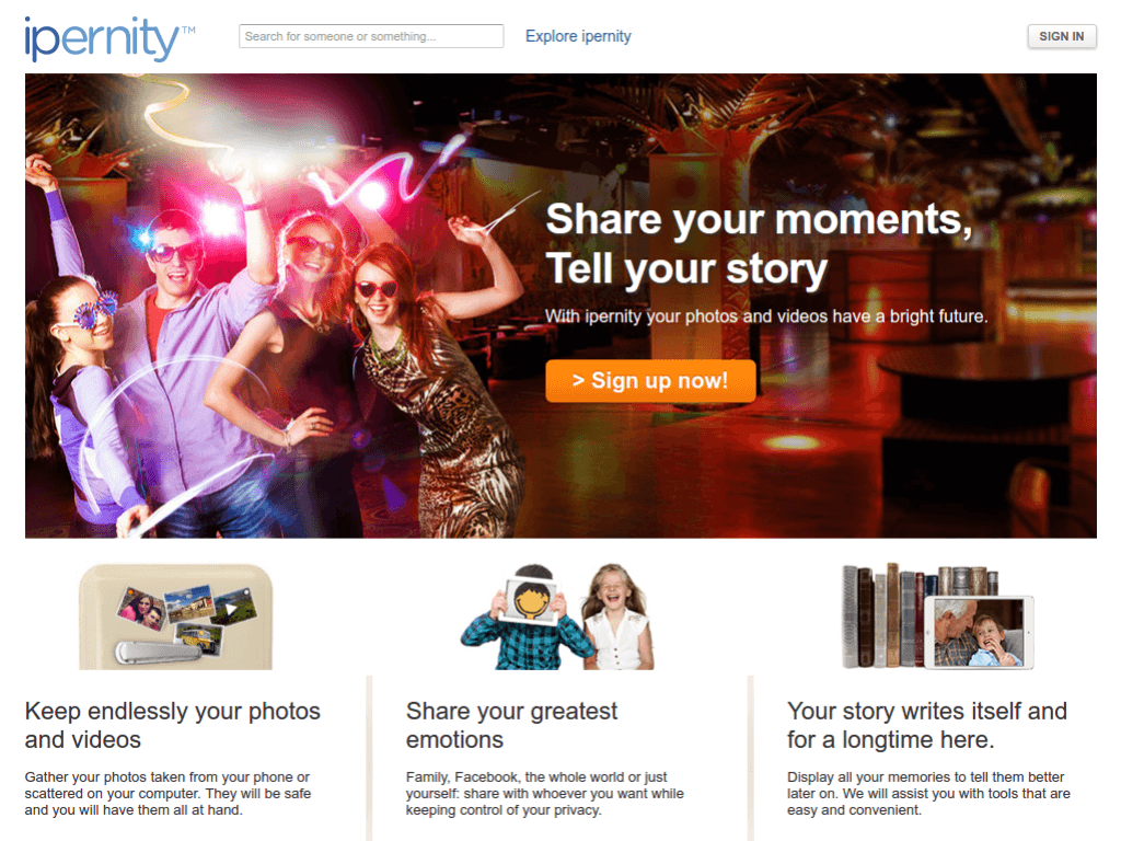 Homepage screenshot of Ipernity