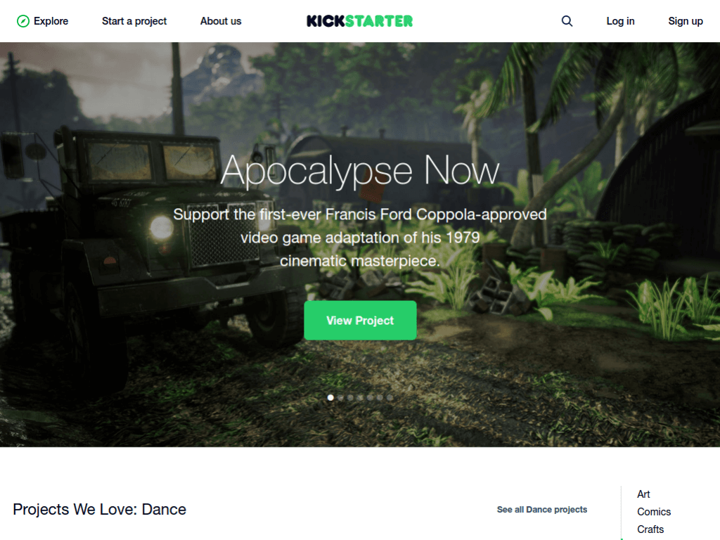 Homepage screenshot of Kickstarter