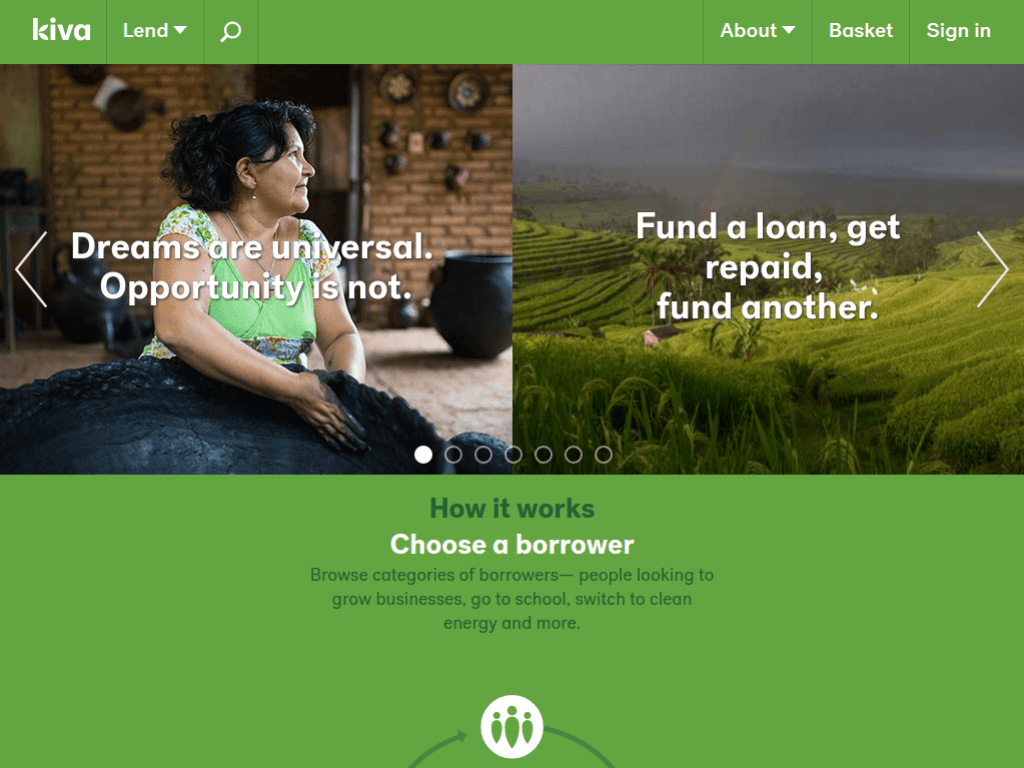 Homepage screenshot of Kiva