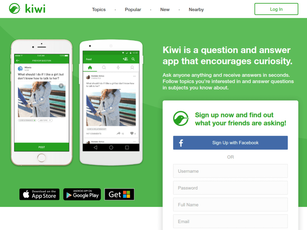 Homepage screenshot of Kiwi