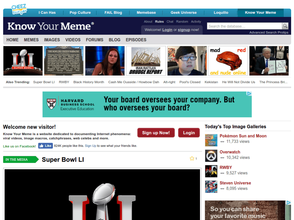 Homepage screenshot of KnowYourMeme