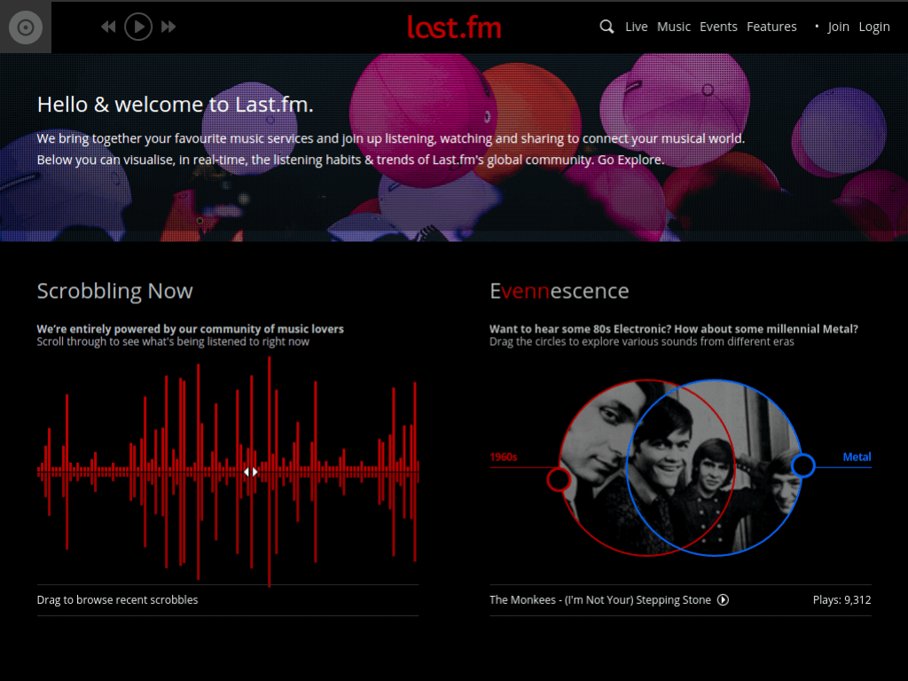 Homepage screenshot of Last FM