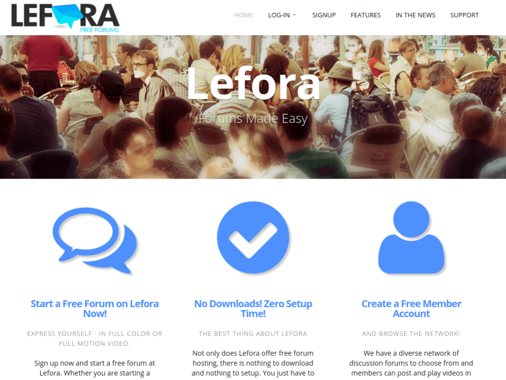 Homepage screenshot of Lefora