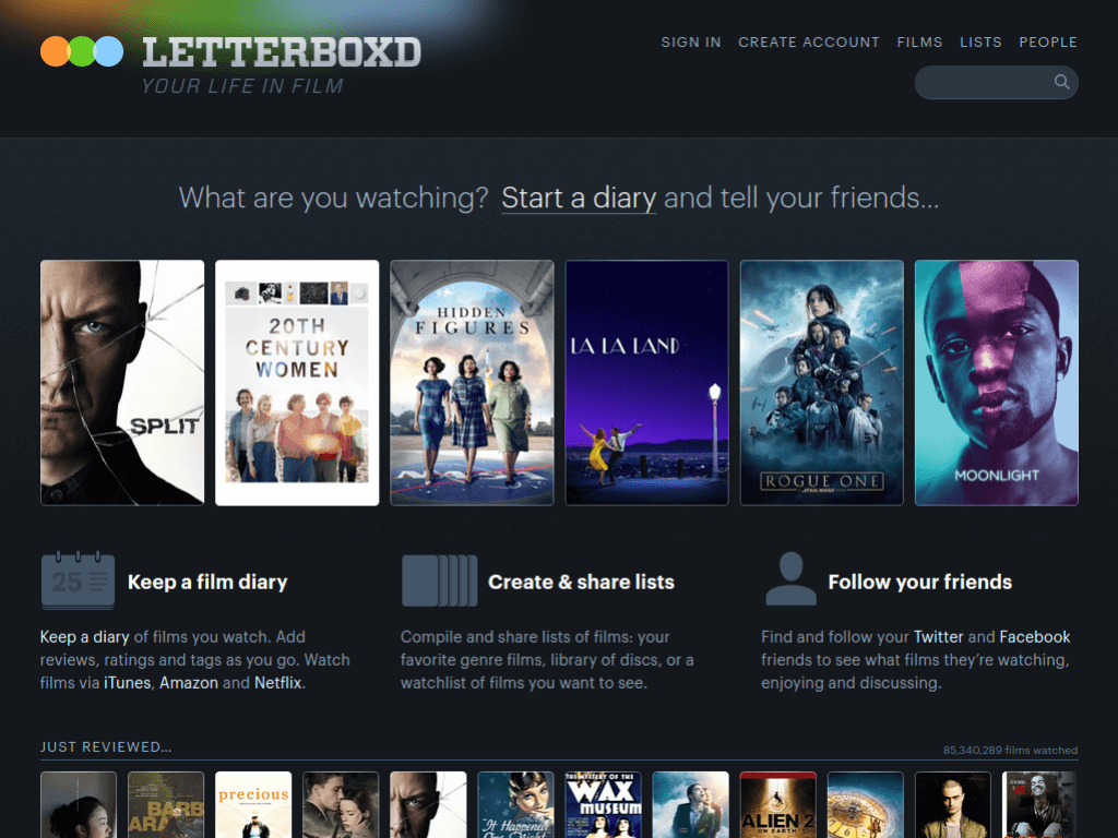 Homepage screenshot of Letterboxd