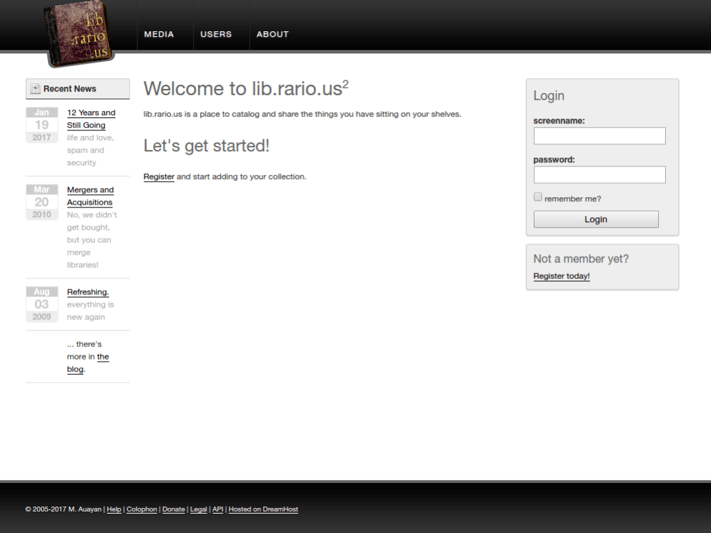 Homepage screenshot of Librarious