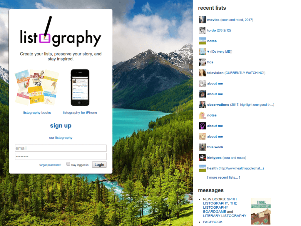 Homepage screenshot of Listography