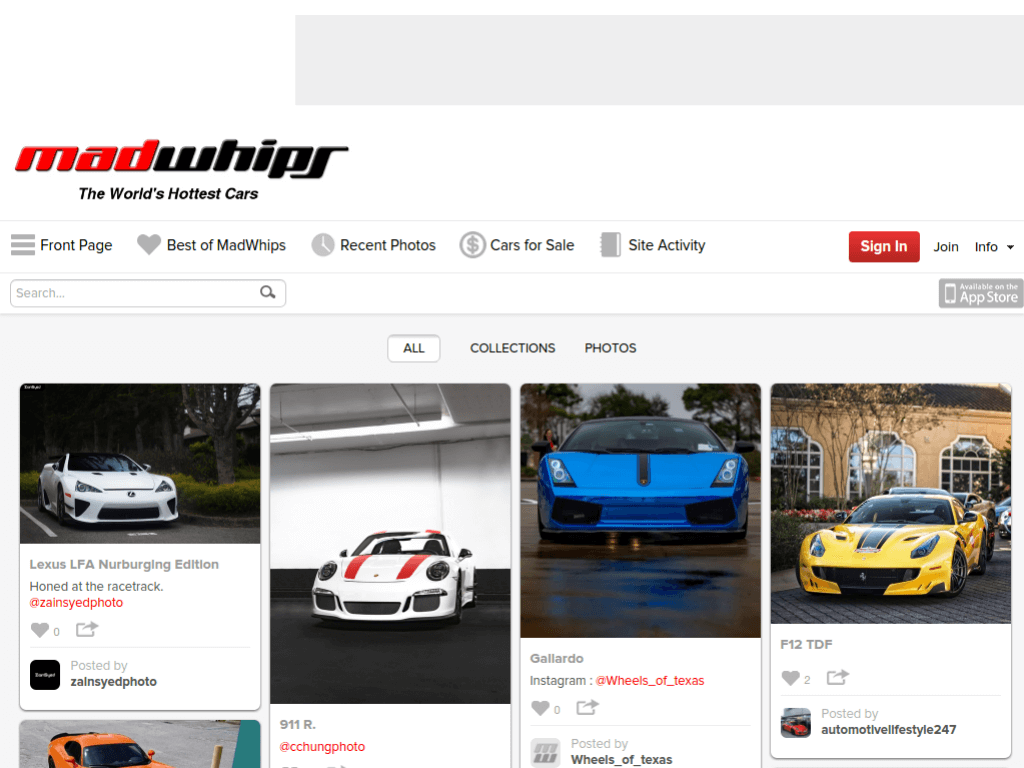 Homepage screenshot of MadWhips