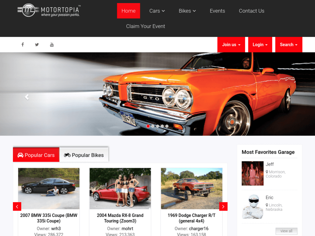 Homepage screenshot of Motortopia