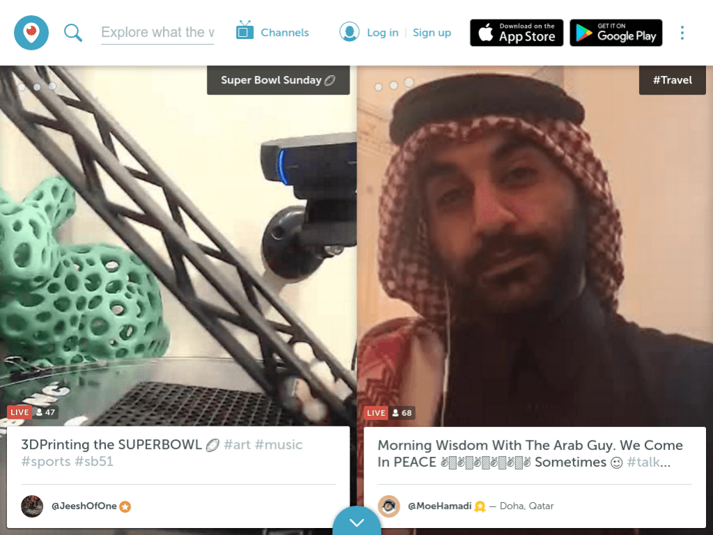 Homepage screenshot of Periscope