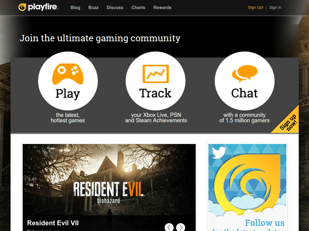 Homepage screenshot of PlayFire