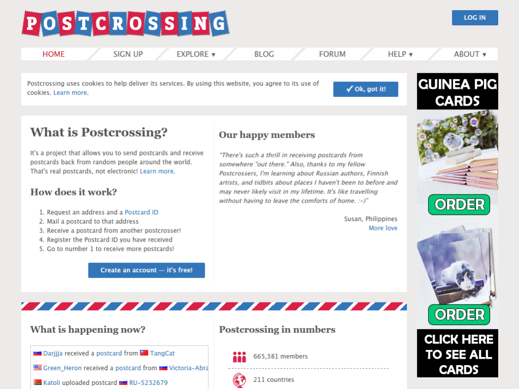 Homepage screenshot of Post Crossing
