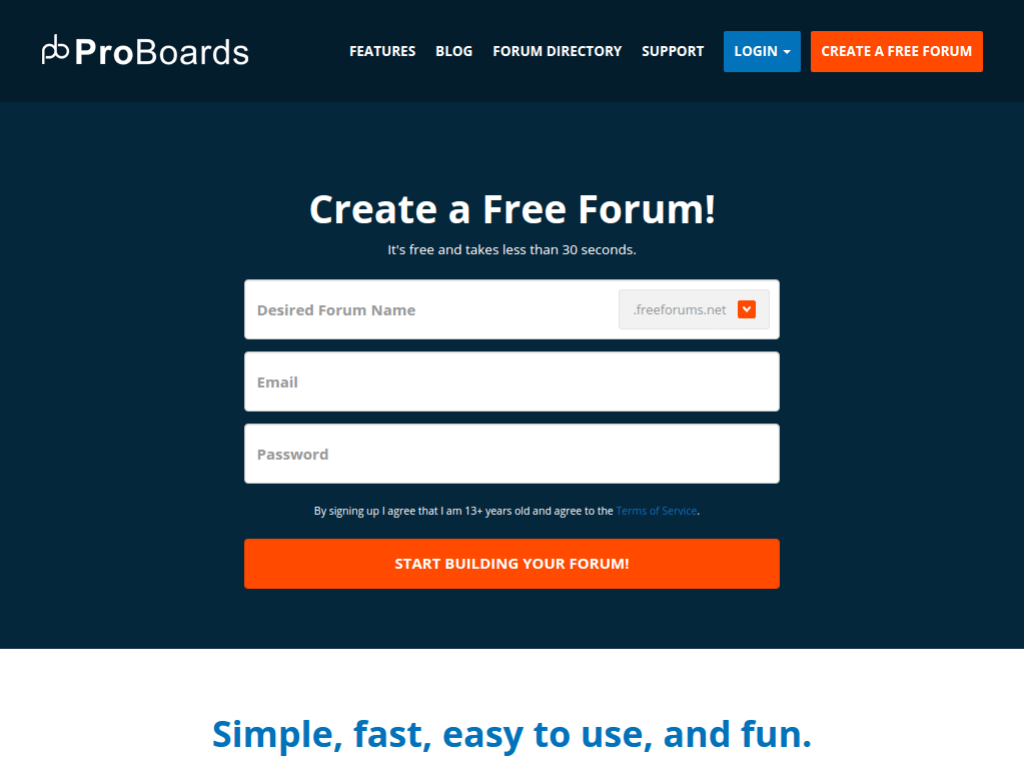 Homepage screenshot of Pro Boards