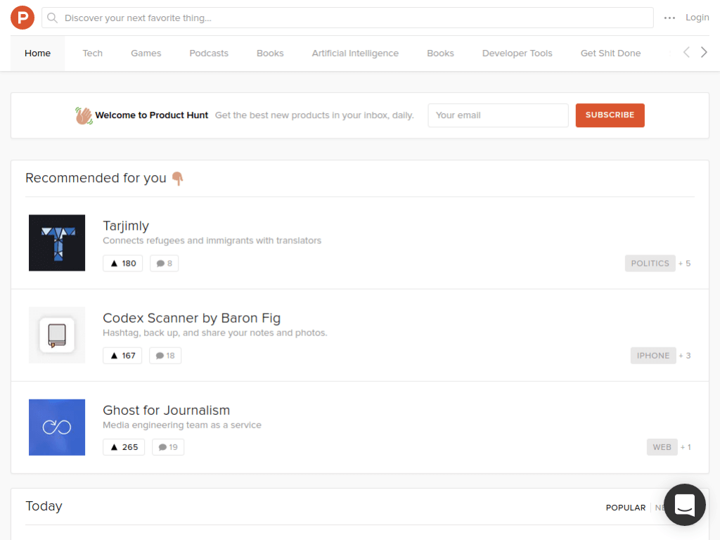 Homepage screenshot of Product Hunt