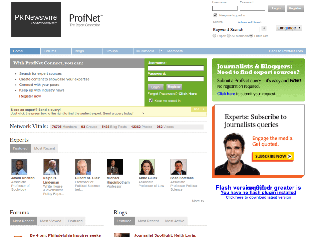 Homepage screenshot of ProfNet Connect