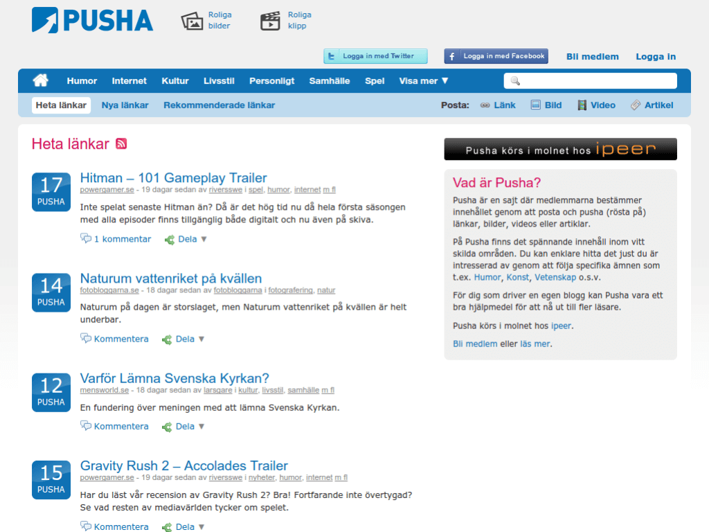 Homepage screenshot of Pusha