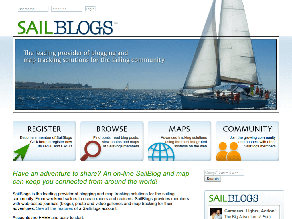Homepage screenshot of SailBlogs