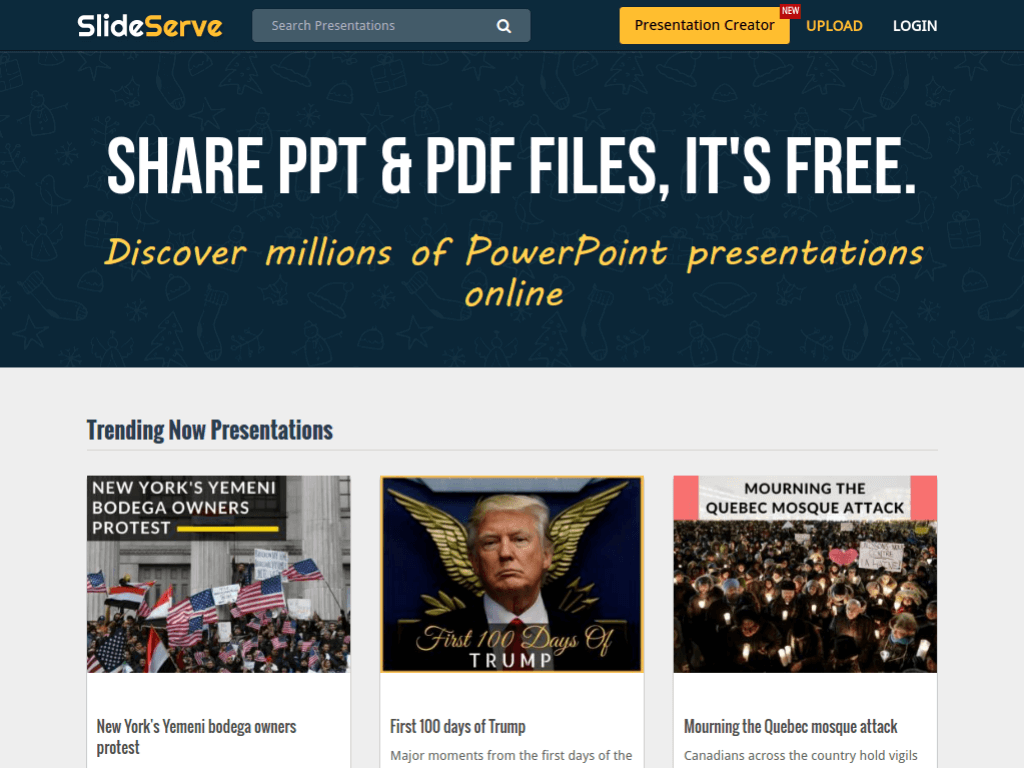 Homepage screenshot of Slide Serve