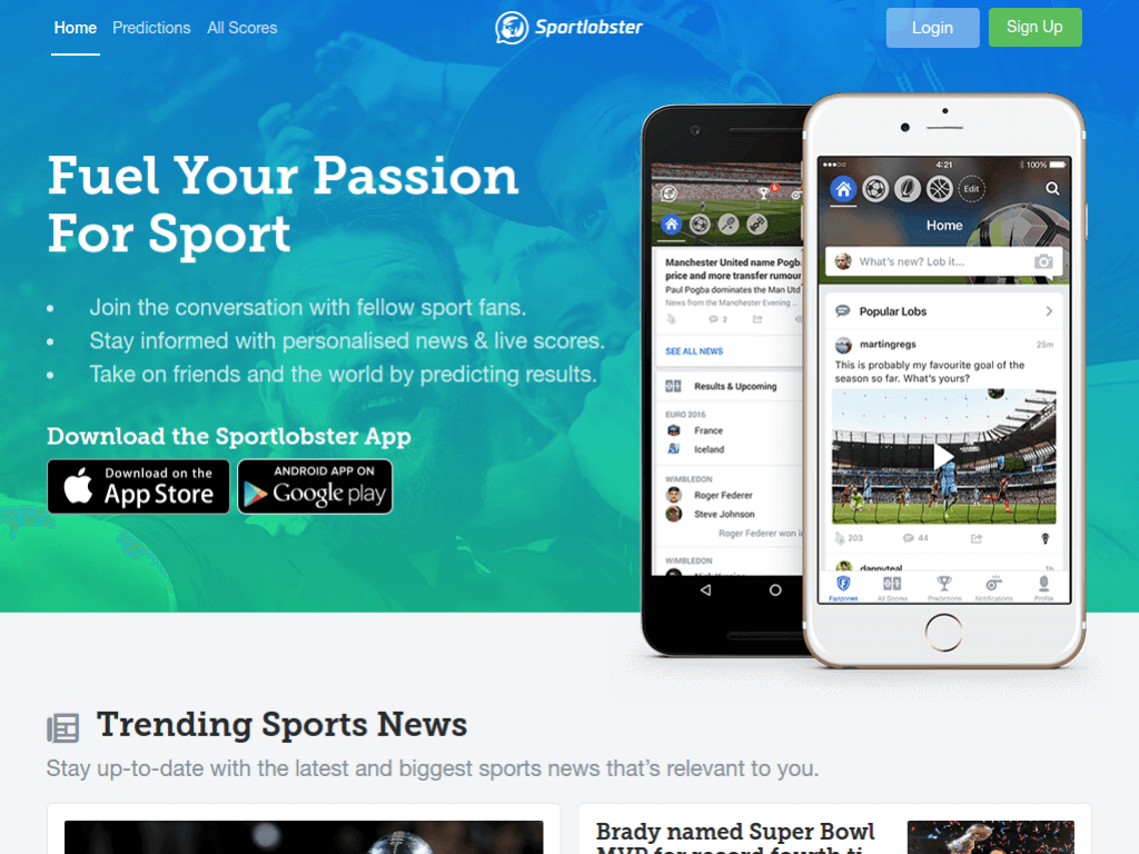 Homepage screenshot of SportLobster