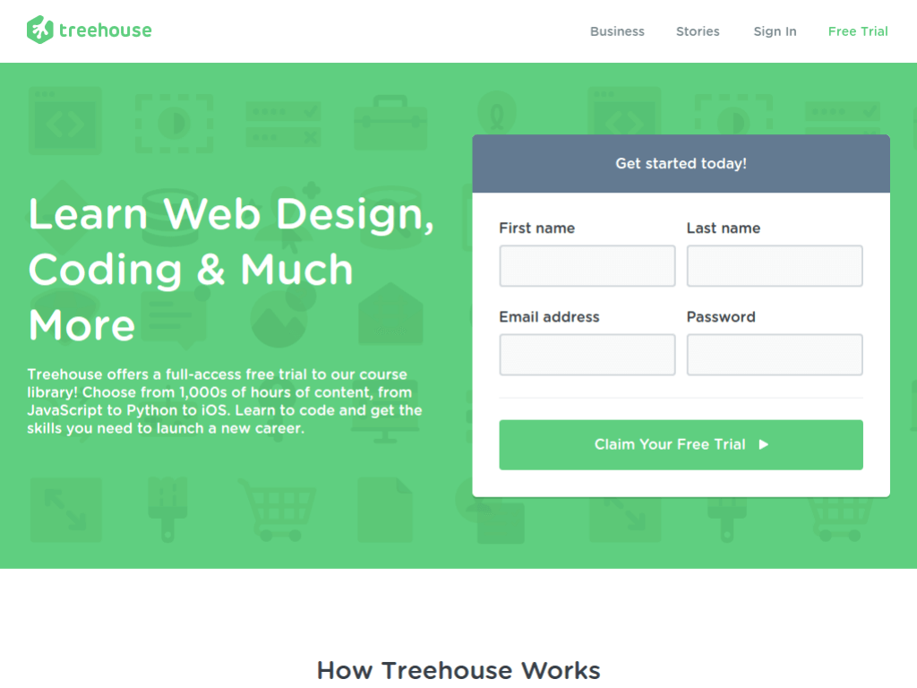 Homepage screenshot of Team Treehouse