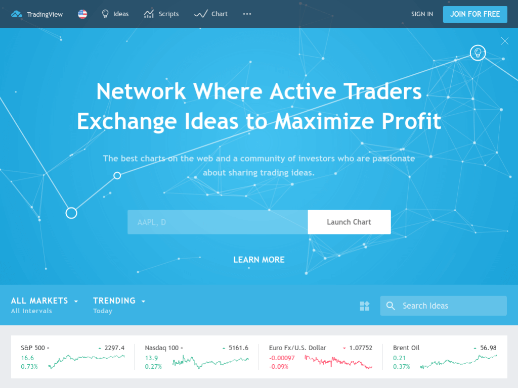 Homepage screenshot of Trading View