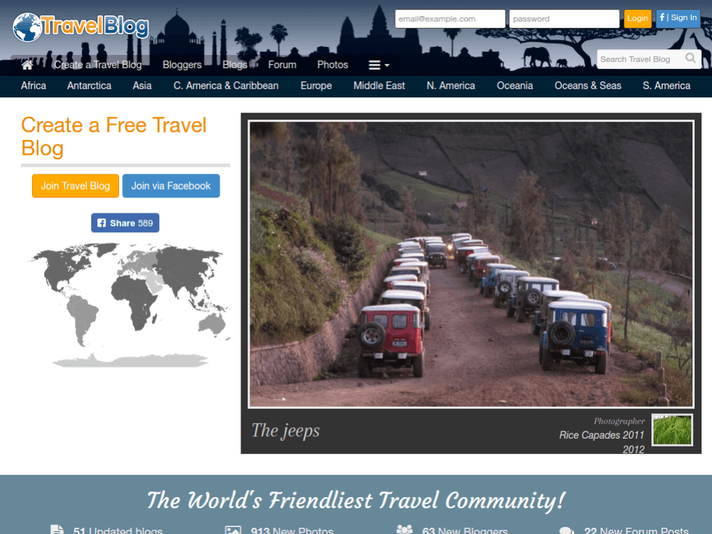 Homepage screenshot of Travel Blog