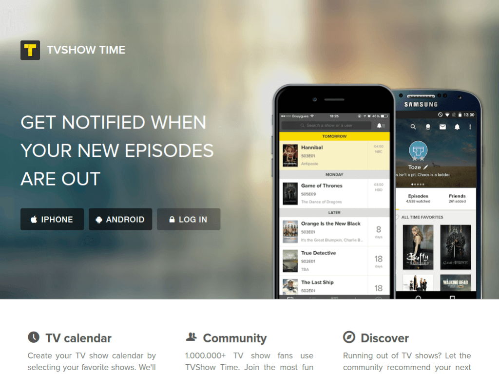 Homepage screenshot of TVShowTime