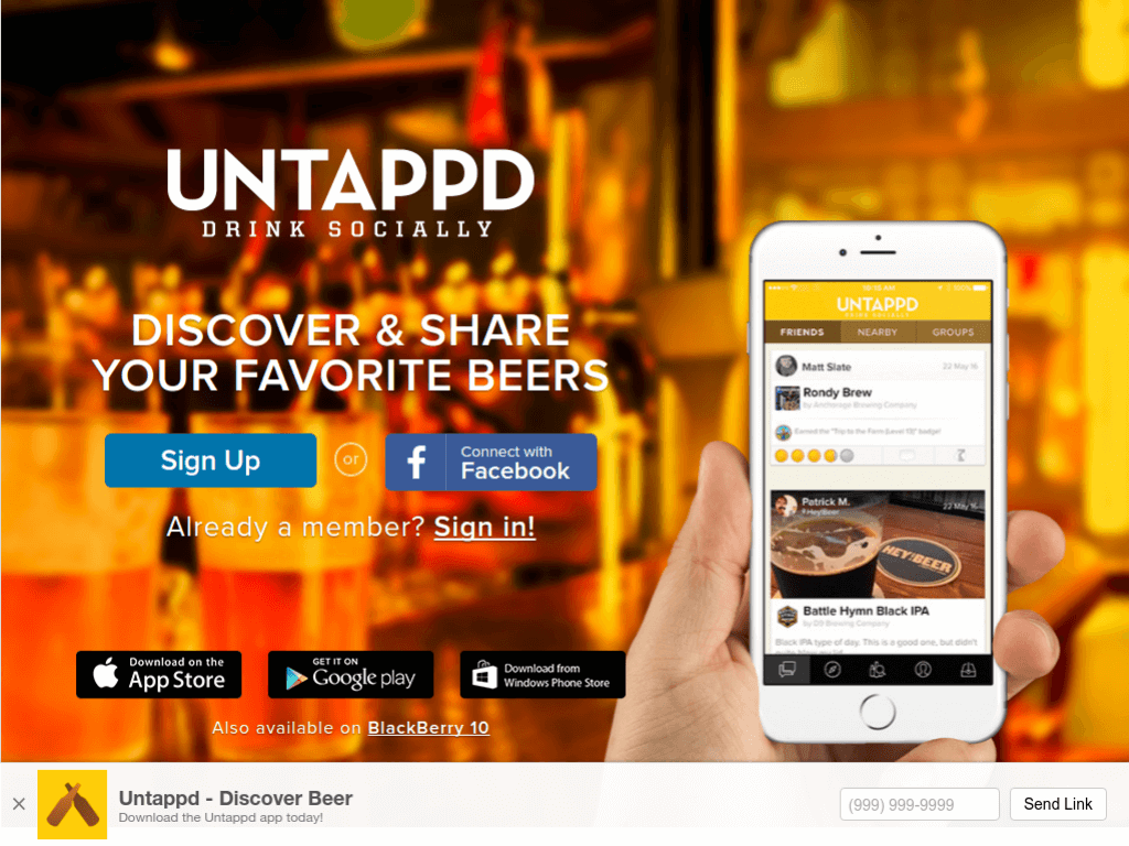 Homepage screenshot of Untappd