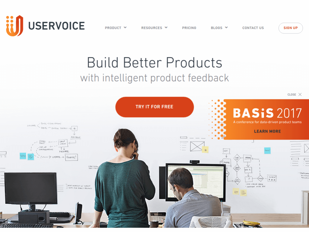 Homepage screenshot of User Voice